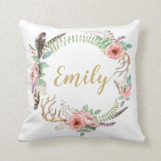 BlumenWatercolorwreath-personalisiertes Kissen