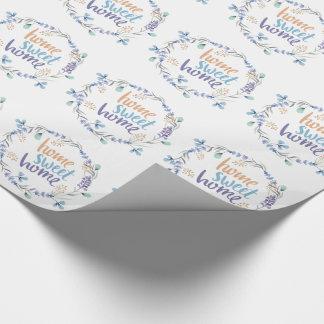 BlumenWatercolorwreath-Zuhause-Bonbon-Zuhause Geschenkpapier