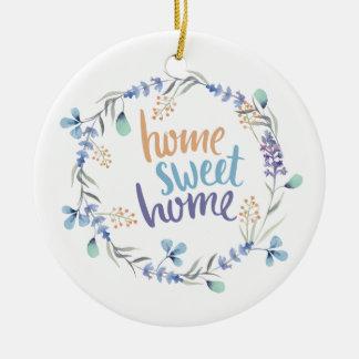 BlumenWatercolorwreath-Zuhause-Bonbon-Zuhause Rundes Keramik Ornament