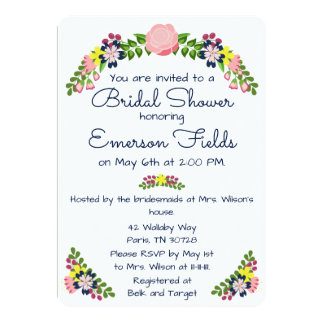 Blumenwreath-Brautparty-Einladung 12,7 X 17,8 Cm Einladungskarte