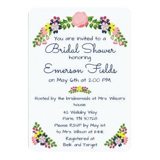 Blumenwreath-Brautparty-Einladung Karte