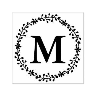 Blumenwreath-Monogramm-Briefmarke Permastempel