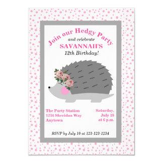 Blumewreath-Igels-Geburtstags-Party Einladung