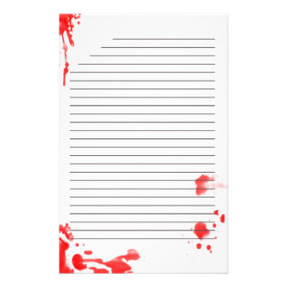 Blut stationär befleckt briefpapier