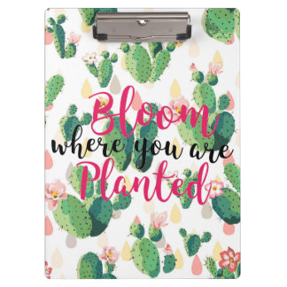 Blüte, wo Sie gepflanztes Kaktus-Druck-Klemmbrett Klemmbrett