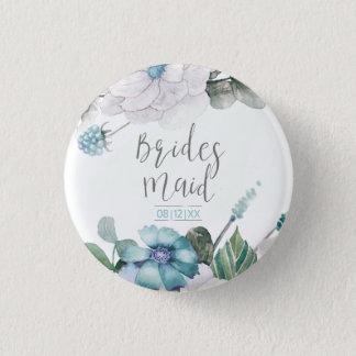 Blüten u. Beeren-Brautjungfer aquamarines MIT Runder Button 3,2 Cm