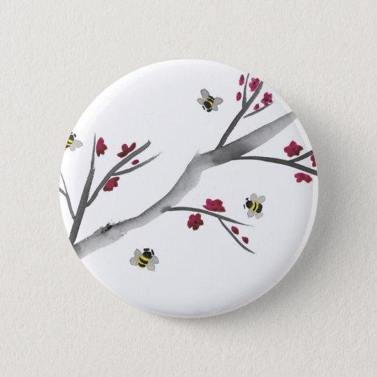 Blüten und Bienen Runder Button 5,7 Cm