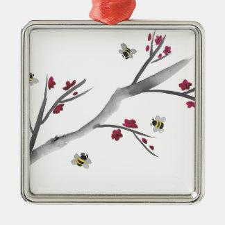 Blüten und Bienen Silbernes Ornament