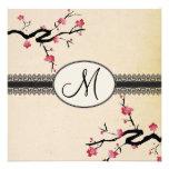 Blütenhochzeit des Monogramms japanische Kirsch Ankündigung