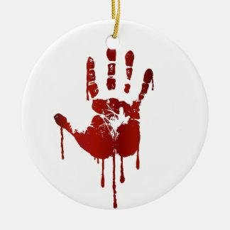 Blutige Halloween-Hand Keramik Ornament