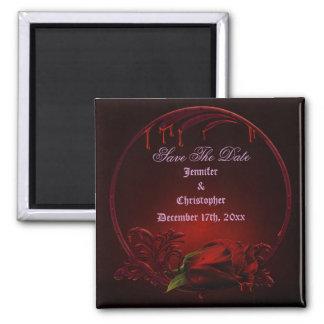 Blutige Rosen-Rahmen Save the Date Goth Hochzeit Quadratischer Magnet