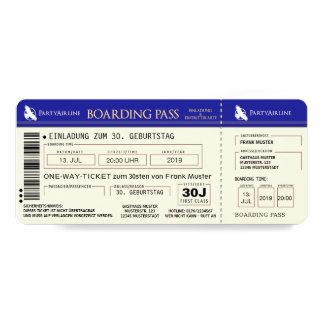 BOARDING PASS Flugticket Einladungskarte (blau)