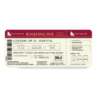 BOARDING PASS Flugticket Einladungskarte (rot)