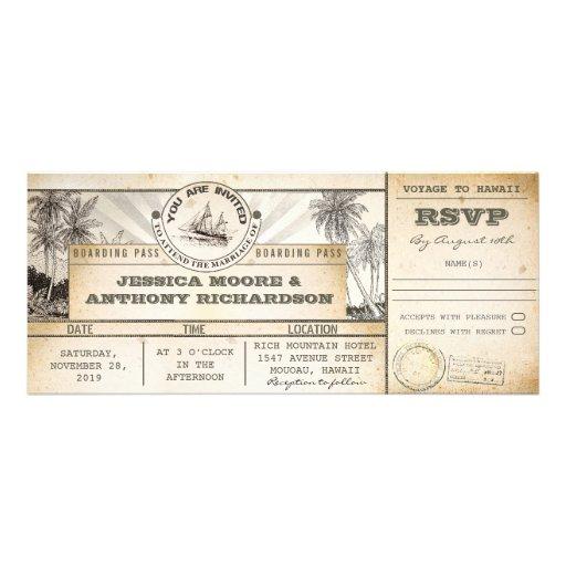 Boardingdurchlaufhochzeits-Karteneinladungen Individuelle Einladungskarte