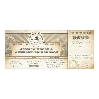 Boardingdurchlaufhochzeitsflug-Karteneinladungen 10,2 X 23,5 Cm Einladungskarte