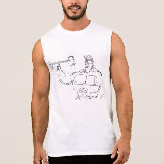Bodybuilder führen vor ärmelloses shirt