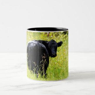 Boeuf d'Angus dans l'herbe jaune grande Mug À Café
