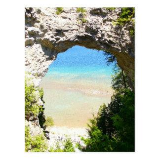 Bogen-Felsen, Mackinac Insel Postkarte