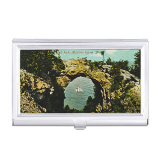 Bogen-Felsen Mackinac Insel Vintages Michigan Visitenkarten Etui