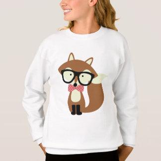 Bogen-Krawatten-und Glas-Hipster-BrownFox Sweatshirt