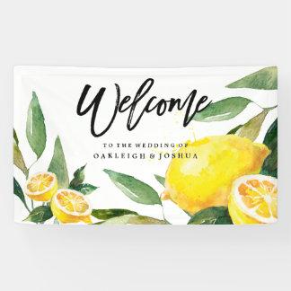 Böhmische Aquarell-Zitronen-Hochzeits-Fahne Banner