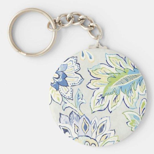 Böhmische blaue Blume Standard Runder Schlüsselanhänger