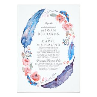 Böhmische Blumenfeder-rustikale Hochzeit 12,7 X 17,8 Cm Einladungskarte