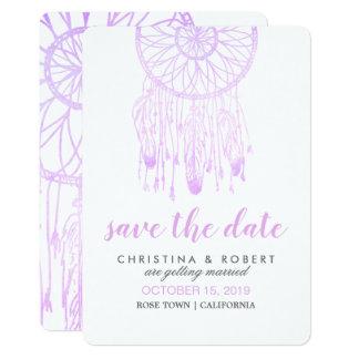 Böhmischer Dreamcatcher Lavendel Save the Date Karte