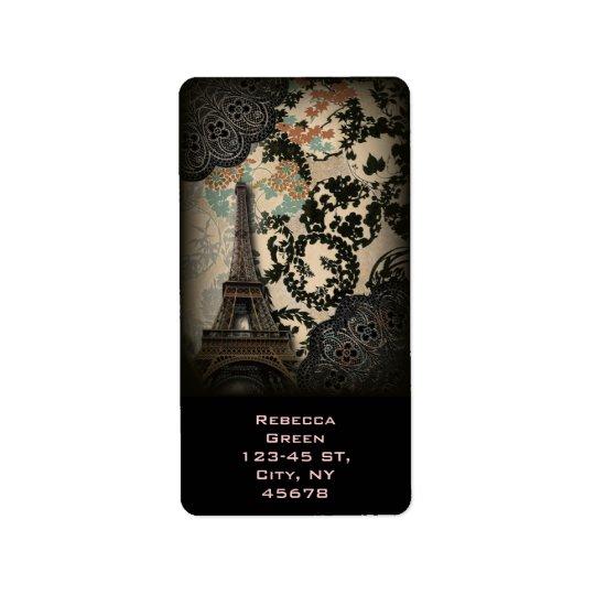 böhmischer schwarzer Vintager mit Blumenturm Paris Adressaufkleber