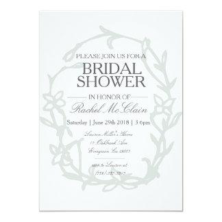 Böhmisches Blumenrahmen-Grau-Brautparty 12,7 X 17,8 Cm Einladungskarte