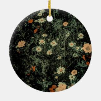 böhmisches Wildblumeschwarzes des weißen Rundes Keramik Ornament