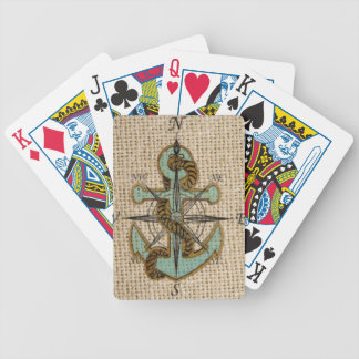 boho Blauanker kompaß schicker Leinwand See Bicycle Spielkarten