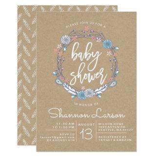 Boho BlumenKranz-Babyparty-Einladung 12,7 X 17,8 Cm Einladungskarte