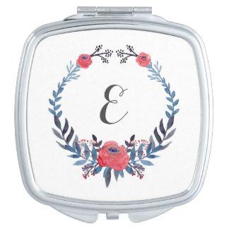 Boho Blumenmonogramm der watercolor-Rosen-| Taschenspiegel