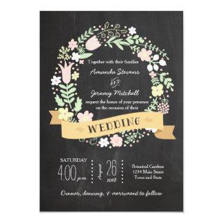 Boho Blumewreath-rustikale Tafel-Hochzeit 12,7 X 17,8 Cm Einladungskarte