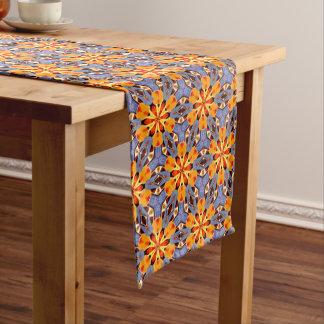 Boho Chic-Blumenmuster-orange Gelb-rotes Lila Großer Tischläufer