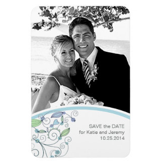 BOHO Chic-Foto-Save the Date blaues Budget Magnet