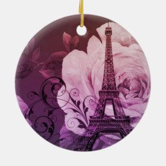 Boho Chic lila Girly mit Blumenturm Paris Eiffel Rundes Keramik Ornament