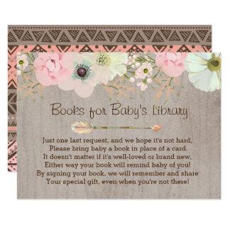 Boho des rustikalen Blumendie bibliotheks-Einsatz Karte