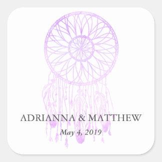 Boho Dreamcatcher Lavendel-schicke Stammes- Quadratischer Aufkleber