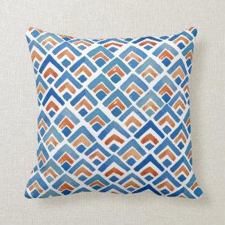 Boho eklektisches blaues und orange Kissen