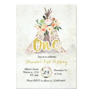 Boho erste Geburtstags-Einladung 12,7 X 17,8 Cm Einladungskarte