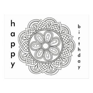 Boho Geburtstags-Mandala-Blumenverzierungsfarbton Postkarte
