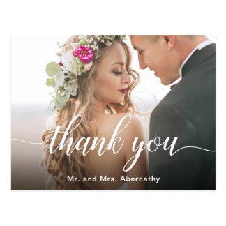 Boho inspirierte Hochzeits-Foto danken Ihnen Postkarte