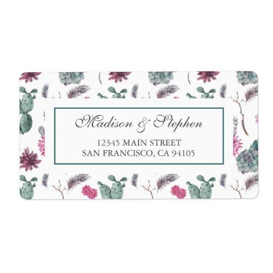 Boho Kaktus, saftig u. mit Blumen - Hochzeit Großer Adressaufkleber