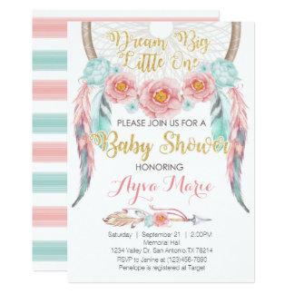 Boho rosa blaue Dreamcatcher Babyparty-Einladung Karte