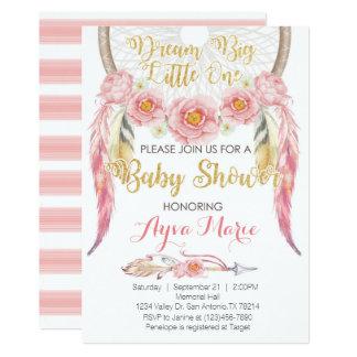 Boho rosa GoldDreamcatcher Babyparty-Einladung 12,7 X 17,8 Cm Einladungskarte