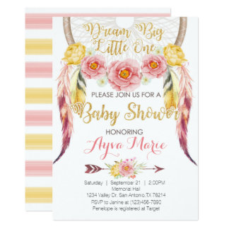 Boho rosa GoldDreamcatcher Babyparty-Einladung Karte