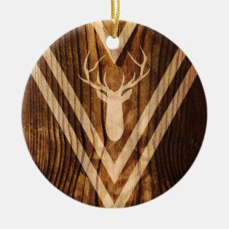 Boho Rotwild auf rustikalem Holz Keramik Ornament