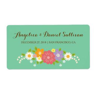 Boho rustikale BlumenKranz-Hochzeit (Minze) Großer Adressaufkleber